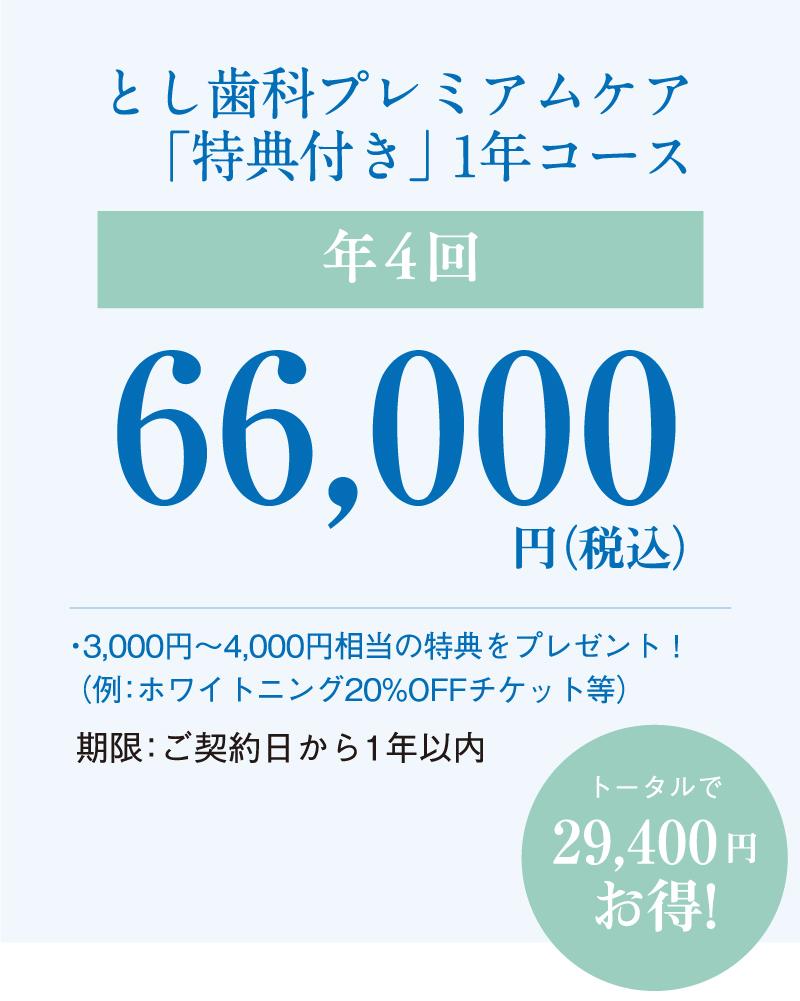 とし歯科プレミアムケア「特典付き」 年4回 66,000円(税込)